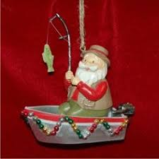 fun on the lake motor boat christmas ornament boating