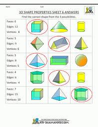 free printable geometry worksheets 3rd grade 3d shapes properties