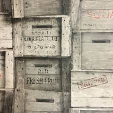 fine decor wood crates wallpaper stacked wood packing creates in