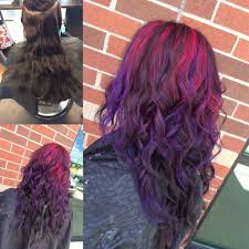 Colorful Hair Dye Ideas Pink And Purple Highlighted Ombre Hair Pinterest Purple