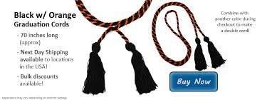 black and orange honor cords from honors graduation