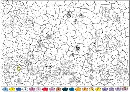 underwater world color by number free printable coloring pages