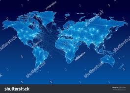 Earth World Map by World Map Nodes Linked By Lines Stock Vector 225614599 Shutterstock