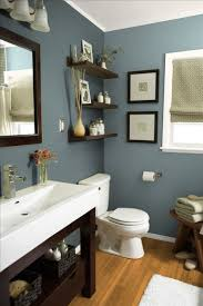 small bathroom wall color ideas grey wall color with wood mirror for small bathroom ideas with