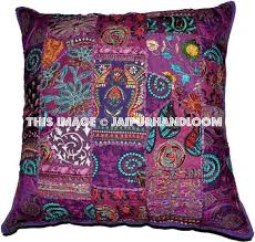 Accent Pillows For Sofa 24x24 Purple Decorative Throw Pillows Indian Patchwork Sofa Cushions