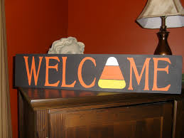 primitive welcome candy corn wood sign for halloween fall holiday