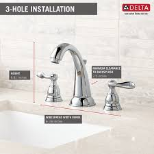 new chrome finish 2 handle delta windemere bathroom sink two handle widespread lavatory faucet b3596lf delta faucet