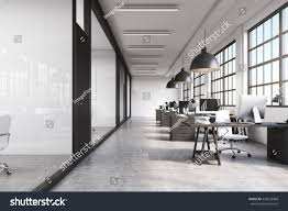 front view long office room concrete stock illustration 526033468