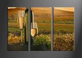3 piece green canvas wine art