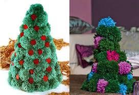 christmas decorations pom pom christmas tree art ideas crafts