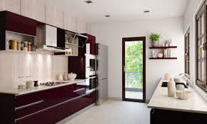 sienna parallel modular kitchen with whtie and dark brown colours