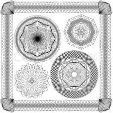 set of vintage backgrounds guilloche ornamental element for
