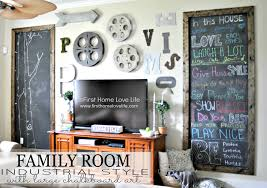 Industrial Style Family Room Gallery Wall With Chalkboard Art - Family room photo gallery