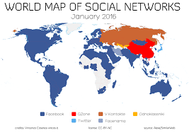 world map in world map of social networks