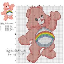 cheer bear care bears character free cross stitch pattern size 77