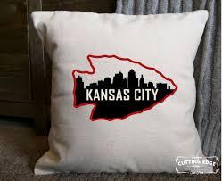 kansas city skyline in arrowhead cotton canvas natural pillow