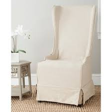 slipcover chair safavieh deco bacall ivory slip cover side chair overstock