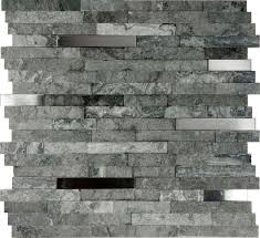 Kitchen Gray Stone Backsplash Grey Eiforces - Gray backsplash tile