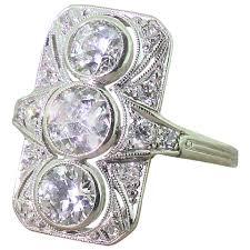 deco plaque metal art deco 2 76 carat old cut diamond gold plaque ring at 1stdibs
