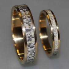 deer antler wedding band 18k gold wedding band set with deer from ringordering on etsy