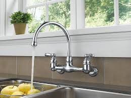 wall mounted kitchen sink faucets peerless p299305lf choice two handle wall mounted kitchen faucet