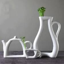 creative tea white ceramic vase flower holder home living room