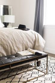 Bench Bedroom Zephyr Black Leather Tufted Bedroom Bench
