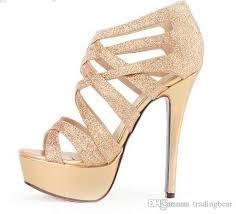 glitter women high heels gold dress sandals crossover strappy