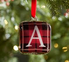 plaid glass letter ornaments pottery barn
