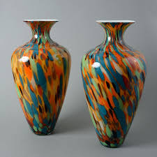 Italian Glass Vases A Pair Of Large Multi Coloured Italian Glass Vases