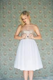 gold sequinned wedding dress knee length white tulle dress