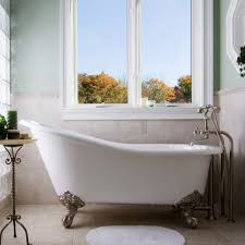 clawfoot tub bathroom ideas glass windows with small bathroom mat and classic clawfoot tub