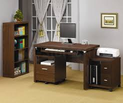 Computer Storage Cabinet Brown Walnut Wood Desk For Computer With Storage Cabinet And