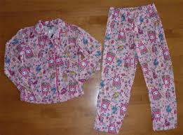 girls joe boxer flannel coat pajamas pjs size 7 8 monkey