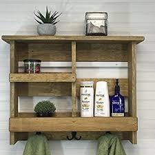 Rustic Bathroom Colors Amazon Com Rustic Wooden Bathroom Shelf U0026 Towel Rack Rod By