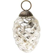 mini silver mercury glass ornament pine cone design hanging