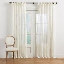 Tie Top White Curtains Linen Sheer Tie Top Panel Ballard Designs