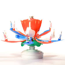 spinning birthday candle white and blue lotus flower musical birthday candles spinning