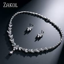 simple diamond sets zakol simple fashion leaves earrings sliver color necklace