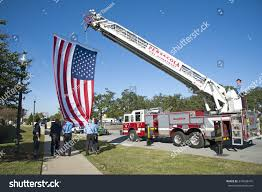 Flag On Fire American Firefighters Raise Stars Stripes On Stock Photo 345508475