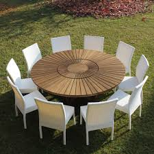 Panneau Bois Teck Grande Table Ronde De Jardin En Teak Massif Real Table