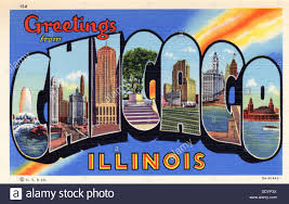 greetings from chicago illinois postcard 1935 stock photo