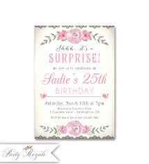 surprise 25th birthday invitations for her 25th birthday