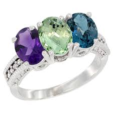 large amethyst diamond white gold 10k white gold diamond jewelry 3 stone rings green amethyst