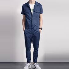 mens blue jumpsuit summer fashion cool mens grey blue sleeve cotton