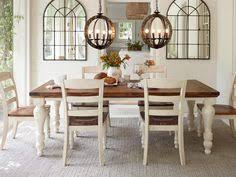 farmhouse table two tone marsilona dining room table view 1