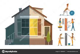 House Renovation Before And After Home House Repair Renovation Service Before And After U2014 Stock