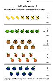 free preschool subtraction math worksheets