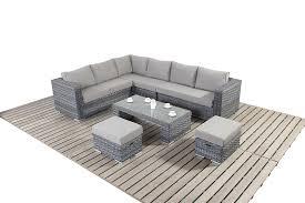 Rattan Curved Sofa by Port Royal Platinum Grey Large Corner Sofa Rattan Garden Furniture