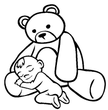 baby asleep in the lap of teddy bear coloring page color luna